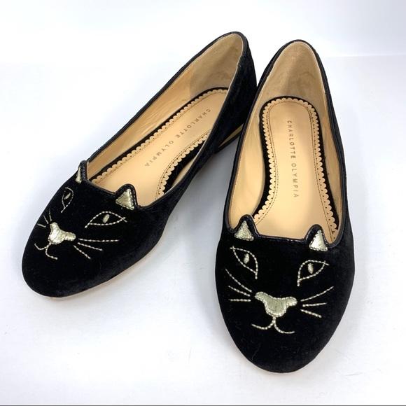 a0b992e73 Charlotte Olympia Shoes | Black Velvet Kitty Flats | Poshmark